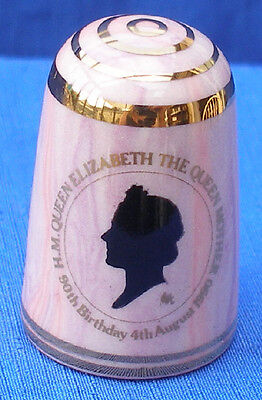 Bouchet Jersey Agateware China Thimble # Queen Mother 90Th Birthday