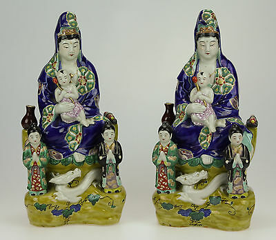 Superb Large Pair Antique Japanese Kutani Figures Of Guanyin