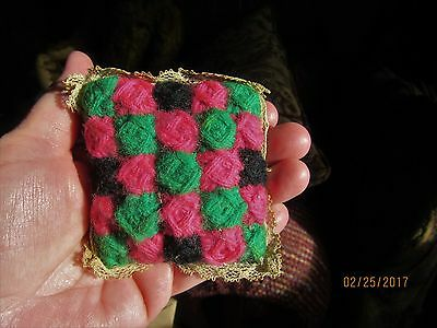 Antique Amish God's Eye pin cushion old sewing pincushion lace great colors