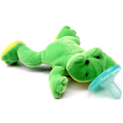 NEW~WubbaNub Silicone Soothie Pacifier~Plush~Baby~0-6 Months~Green Frog