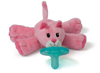 NEW~WubbaNub Silicone Soothie Pacifier~Plush~Baby~0-6 Months~Pink Kitten Cat