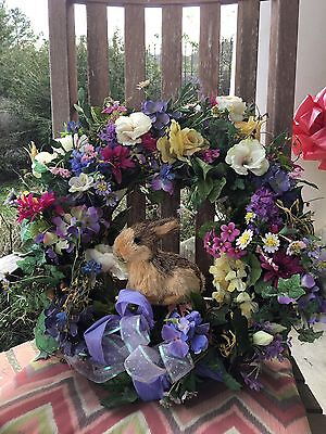 Spring Bunny Floral Wreath Easter