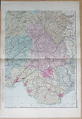 1891 Large Victorian Map - Wales South East Swansea Cardiff New Radnor