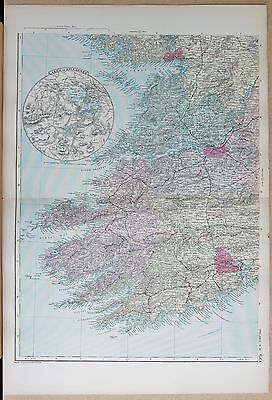 1891 Large Victorian Map - Ireland South West Inset Lakes Of Killarney Cork Galw