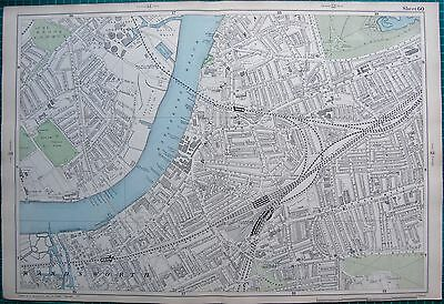 1906 Large Map-Bacon 9 Inch - Wandsworth, Battersea, Clapham Junction
