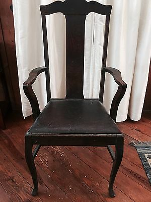 Antique Tiger Oak Wood Chair Leather Seat, Missions Arts and Craft, Arm Dining