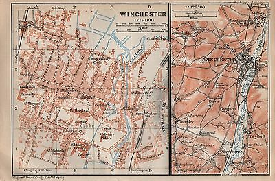 1910 Baedeker Antique Map- Uk-Town Plan, Winchester