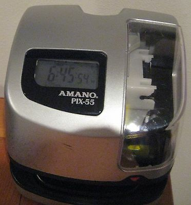 Amano Pix-55 Employee Time Clock Time Recorder Digital No Key Works Great