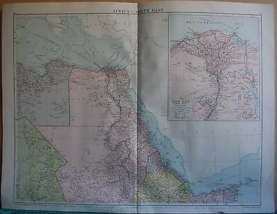 1919 Large Map- Africa, North East,inset Lower Egypt, Suez