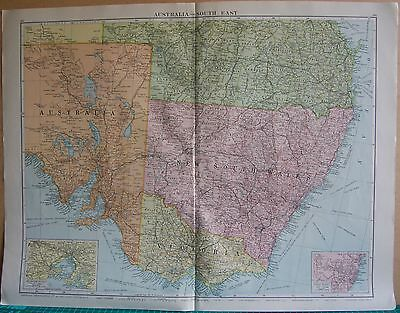 1919 Large Map- Australia, South East, Insets Sydney,melbourne Environs