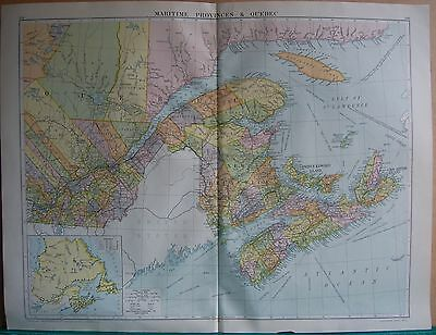 1919 Large Map- Canada, Maritime Provinces And Quebec