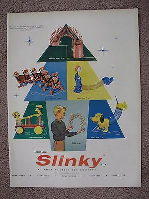 1957 Slinky Toys Large Full Page Color Ad Free Shipping