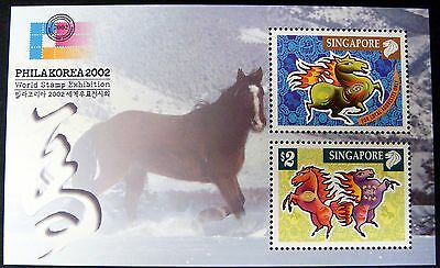2002 Singapore Year Of Horse Stamps Souvenir Sheet  Lunar New Year Stamps