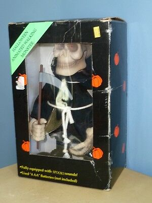 Vtg Walking Monster Halloween Animated Figure Spooky Sounds Eyes Light With Box