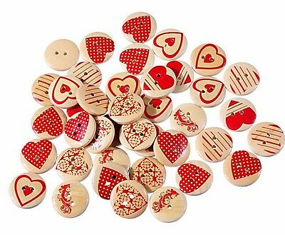 50 Shabby Chic - HEARTS - Wood - 20mm - Scrapbooking - Crafting - Sewing