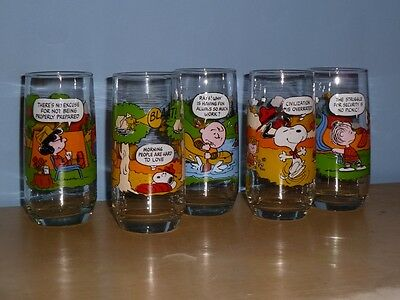 """5 Vintage Camp Snoopy Collection Peanuts Glasses Mcdonald's Promotional 6"""" Tall"""