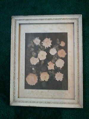 "Antique White Wooden & Gesso Frame Picture of Roses on Board 14x19"" Cottage Shic"