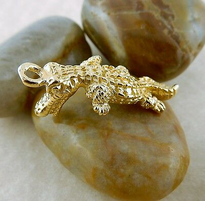 22k gold plated Pewter Florida Alligator 3D Charm, Gator pendant