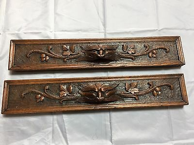 lot of 2 Antique French carved Oak wood head of griffins Lion salvaged piece 2