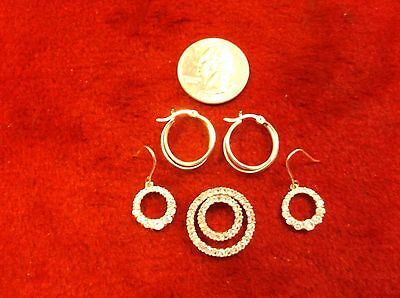 Two Pairs Of Nicer Ladies Sterling Silver Earrings + Dbl Rings Pendant, White Cz