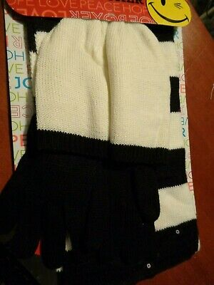 ab1f53d8851 Joe Boxer Women s Off White Black Sequined Scarf Gloves   Hat 3 Piece Set