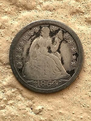 1854 Seated Liberty dime VG