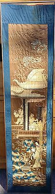 Large Old Chinese Silk Embroidery Textile Panel With Figures 19th Century