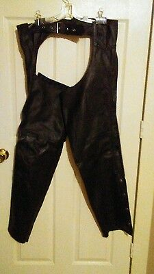 House of Leather Black Motorcycle Chaps SZ 3XL
