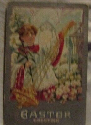 vintage antique easter post card postcard an angel surrounded by flowers die-cut