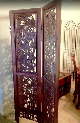 Antique Asian Chinese 3 Panel Wood Carved Teak Room Screen Divider