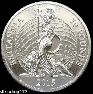 2015 Great Britain Britannia £50 BU Silver Coin UK 1st in Series not 2014 Proof