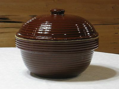 Vintage 1950's Monmouth Western Pottery Ribbed Stoneware Covered Casserole/Crock