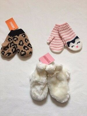 NWT Gymboree Right Meow Sugarplum Sparkle Pink Penguin Mittens 2T 3T