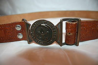 VINTAGE BOY SCOUTS OF AMERICA LEATHER BELT w/ BUCKLE
