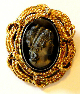 Vintage cameo black mirror glass upcycled pin brooch pendant