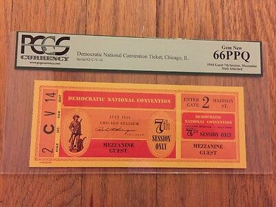 1944 Democratic National Convention Ticket President Franklin Roosevelt PCGS 66