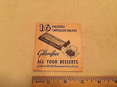 1938 BAKER'S CHOCOLATE Recipe Pamphlet