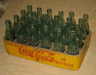 Pat. Dated 1929 Rare COCA COLA Bent Wood Yellow CRATE-CASE-CARRIER w/ 24 Bottles