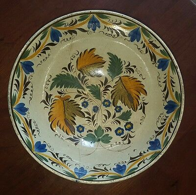 Antique English Leeds Brushstroke Punchbowl Pearlware as is