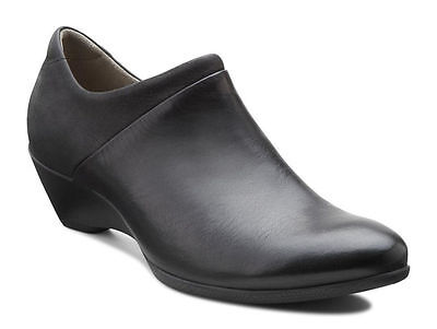 ECCO Womens Black Leather Size 5 5.5 6 6.5 10 10.5 Slip on Clogs shoe Loafer NIB