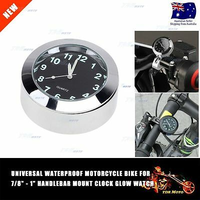 """7/8"""" Motorcycle Handlebar Chrome Mount Clock Dial Watch for Harley Universal"""