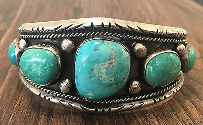 """""""signed"""" By Renowned Artist Vintage Navajo Turquoise & Sterling Silver Bracelet"""