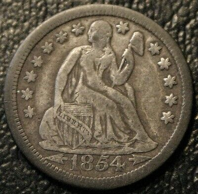 1854 Seated Liberty Dime With Arrows 10C Silver Coin