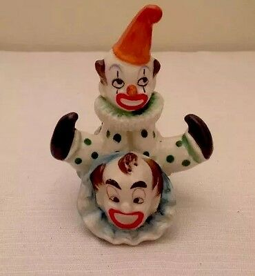 Stacking Clowns Salt and Pepper Shakers 1950's, Japan(RARE)