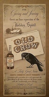 1941 Old Crow Kentucky Straight Bourbon Whiskey ad Holiday Spirit