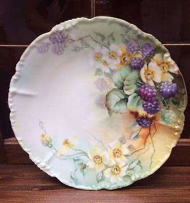 BEAUTIFUL Antique JP Limoge Handpainted Blackberries Cabinet Plate 9 1/2""