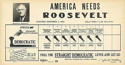 1940 Pennsylvania AMERICA NEEDS Franklin ROOSEVELT Campaign Poll Card (2384)