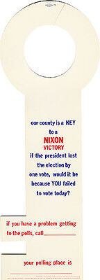 Official 1972 Richard Nixon KEY TO VICTORY California Door Hanger (3794)