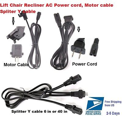 lift chair power supply 2 Pin Spliter Y-Cable,Power Cord,Motor cable Okin limoss