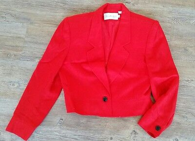 JH Collectibles Women's Size 12 Red Ladies Blazer Cropped Suit Jacket One Button